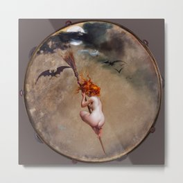 "Luis Ricardo Falero ""The witch, painted on a tambourine"" Metal Print"