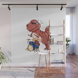 Drumming Dinosaur Dino Dumset Drumstick Present Wall Mural