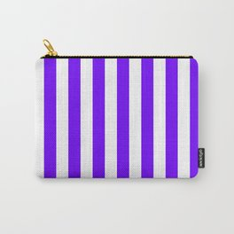 Narrow Vertical Stripes - White and Indigo Violet Carry-All Pouch