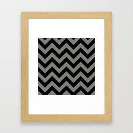 Black and Grey Chevron Stripes Framed Art Print