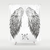 wings Shower Curtains featuring wings by Julia
