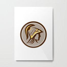 Minerva Head Helmet Circle Retro Metal Print