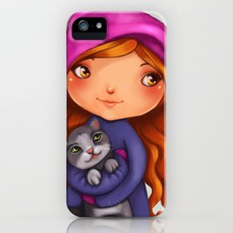 Little girl with kitty iPhone Case