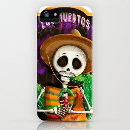 Mexican skull with pet chicken in his arms iPhone Case