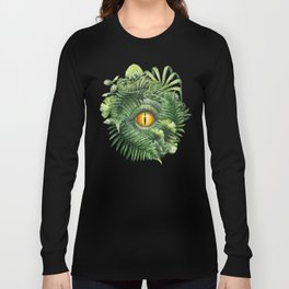 Watercolor dinosaur eye and prehistoric plants Long Sleeve T-shirt