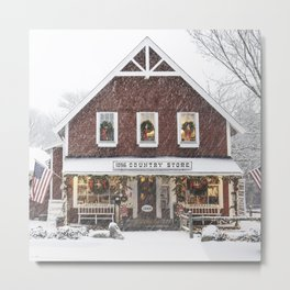 Classic Country Store Christmas Scene Metal Print