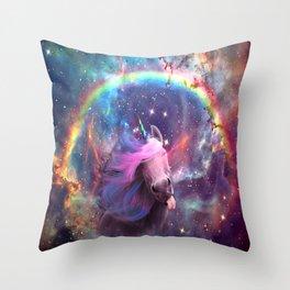 Unicorns belong in space Throw Pillow