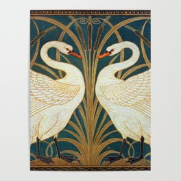 Walter Crane Swan, Rush And Iris Poster