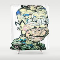 homer Shower Curtains featuring Homer Color by Drew Kochell