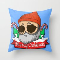 murray Throw Pillows featuring Murray christmas by KickPunch