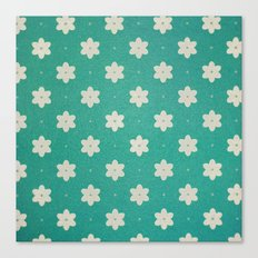 white flowers on turquoise Canvas Print