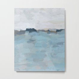 Navy & Baby Blue Abstract Nature Art Painting Metal Print