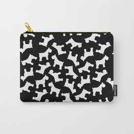 White Schnauzers - Simple Dog Silhouettes Pattern Carry-All Pouch