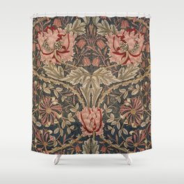 William Morris Honeysuckle Tuscany Italian Textile Floral Pattern Shower Curtain