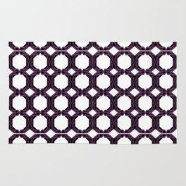 Luxury black mandalas on purple Rug
