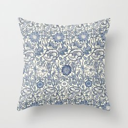 William Morris Navy Blue Botanical Pattern 6 Throw Pillow