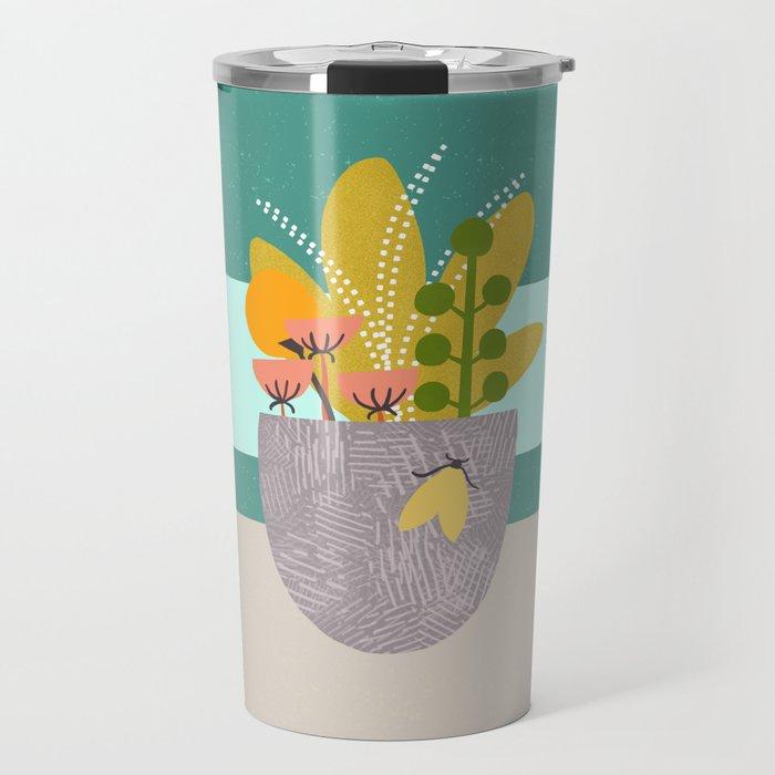 Succulent Garden with Moth Travel Mug