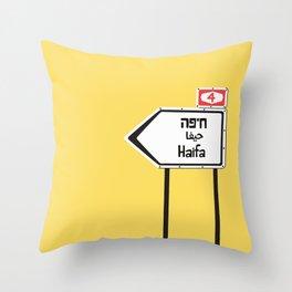 Haifa, This Way Throw Pillow