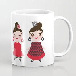 Spanish Woman flamenco dancer. Kawaii cute face with pink cheeks and winking eyes. Gipsy girl Coffee Mug