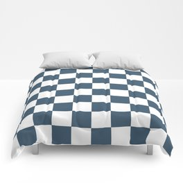 Dusky Blue Checkers Pattern Comforters