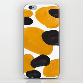 Mid Century Abstract Black & Yellow Fun Pattern Floating Mustard Bubbles Cheetah Print iPhone Skin