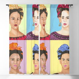 Frida Kahlo Inspired Colorful Pop Art Painting Blackout Curtain
