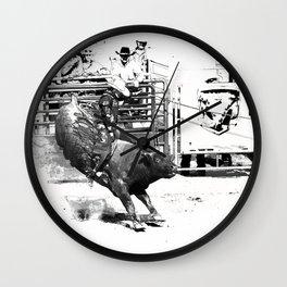 Rodeo Bull Riding Champ Wall Clock