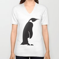 penguin V-neck T-shirts featuring Penguin by Cs025