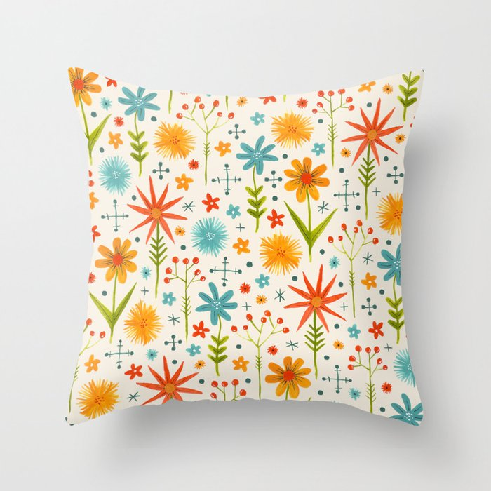bright retro style floral pattern in red yellow blue and green Throw Pillow