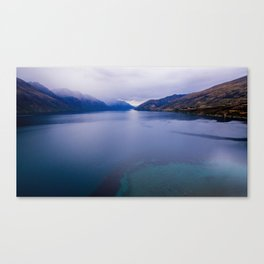 Lake Hawea lake wakatipo blue crystal clear panorama blue Canvas Print