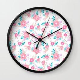Florals bright modern color palette nursery home decor flower bouquet pattern Wall Clock