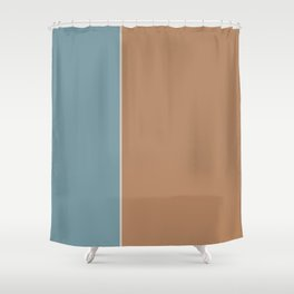 Salmon and Blue Rectangles Shower Curtain