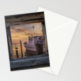 Fishing Boat and Gulls with Fishing Buoys at Sunrise Stationery Cards