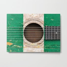 Old Vintage Acoustic Guitar with Nigerian Flag Metal Print