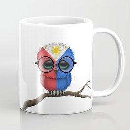 Baby Owl with Glasses and Filipino Flag Coffee Mug