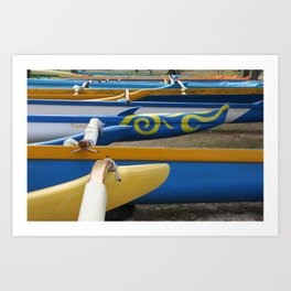 Canoes on Kailua Beach Art Print