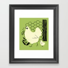 Hen and chick Framed Art Print
