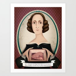 Mary Shelley and the heart of her beloved Percy Art Print