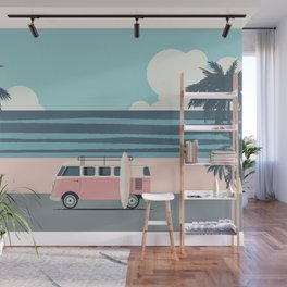 Surfer Graphic Beach Palm-Tree Camper-Van Art Wall Mural