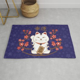 Maneki-neko cat with good luck kanji Rug