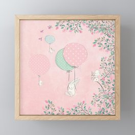 Cute flying Bunny with Balloon and Flower Rabbit Animal on pink floral background Framed Mini Art Print