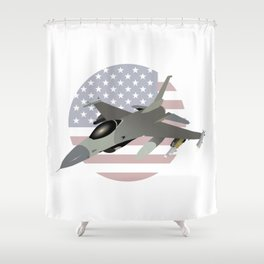 F-16 Jet Fighter with American Flag Shower Curtain