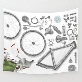 a bike's flatlay Wall Tapestry