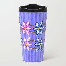 Violet Stripes with Flowers Travel Mug