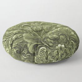 Celery Tooled Leather Floor Pillow