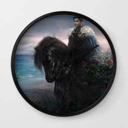 Hiraeth - Knight on black Friesian horse Wall Clock