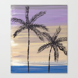 two palm trees euphoric sky Canvas Print