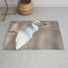 Watercolor Bird, Little Blue Heron 02, Silver River, Florida, Perch from Above Rug