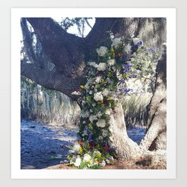 Wadmalaw Wedding Salt Marsh Oak Tree Charleston SC cdeeryart  getdeery Art Print