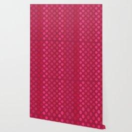 """Rose fuchsia Burlap Texture & Polka Dots"" Wallpaper"